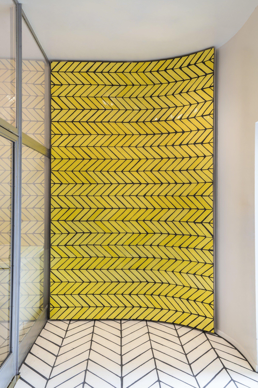 Food + Drink yellow wall floor interior design flooring daylighting window facade glass Design tile ceiling window covering furniture