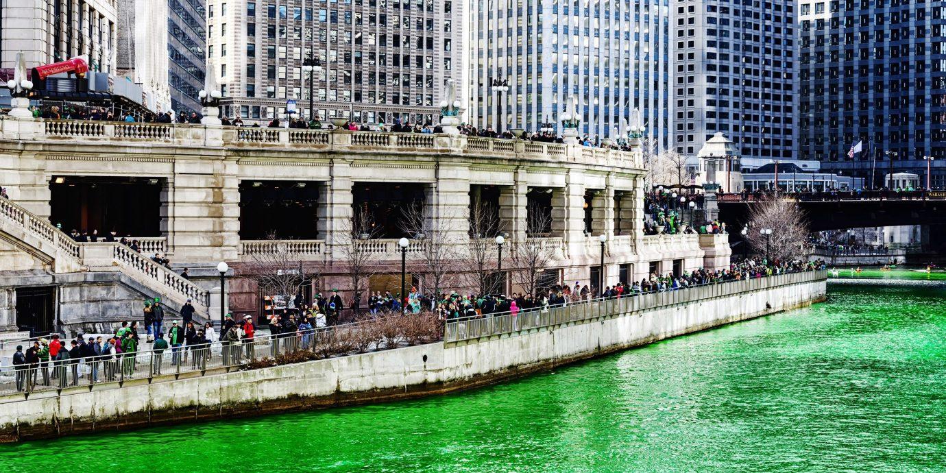 Offbeat building water outdoor landmark urban area City green cityscape waterway skyscraper Downtown vehicle bridge reflection dock palace