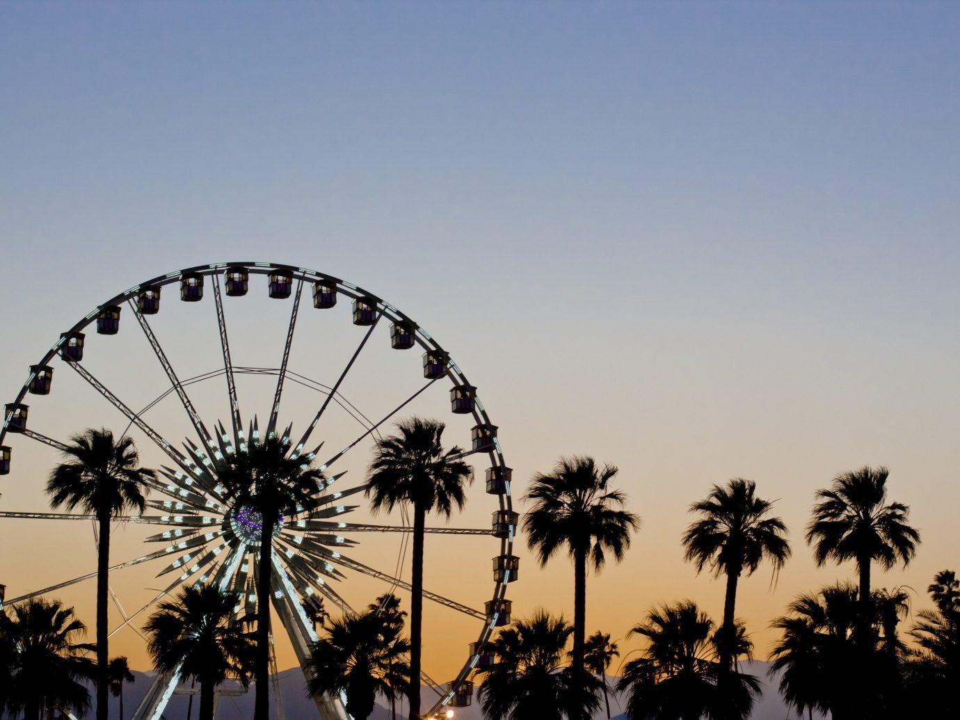 Hotels Offbeat Style + Design Trip Ideas sky palm tree outdoor object plant ferris wheel arecales flower recreation dusk park ride