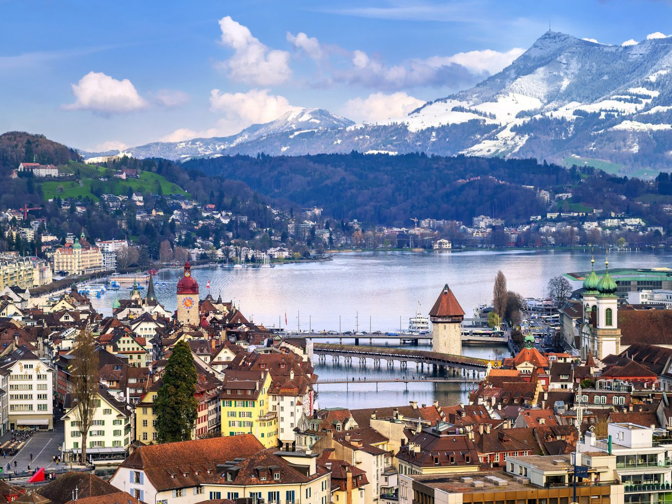 Lakes + Rivers Outdoors + Adventure mountain sky outdoor City mountain range mountain village Town mountainous landforms Winter urban area alps cityscape tourism snow mount scenery hill station Lake Village bird's eye view water tourist attraction suburb tree landscape panorama glacial landform