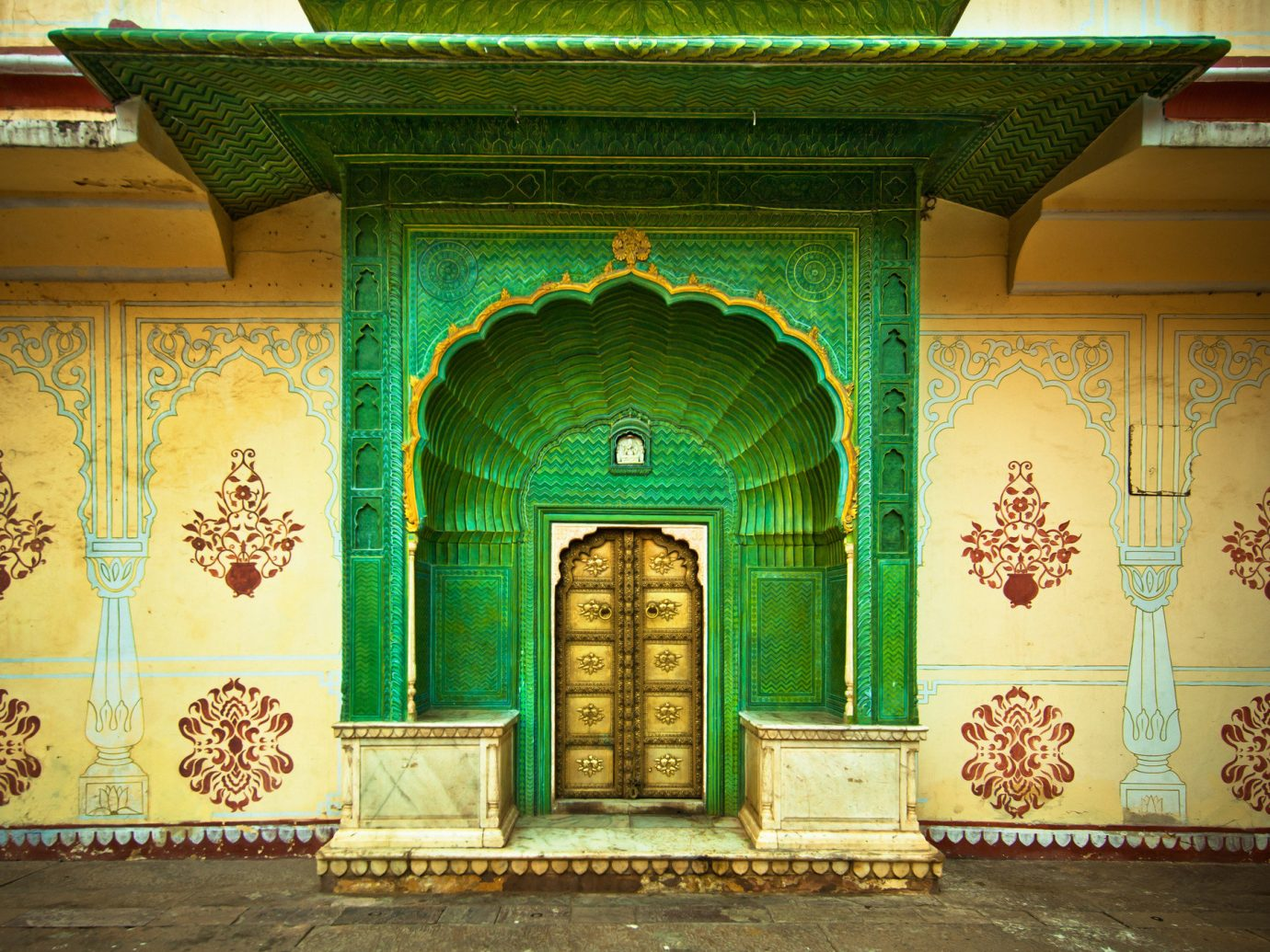 Offbeat Trip Ideas color building wall art ancient history shrine temple hindu temple place of worship palace painted arch