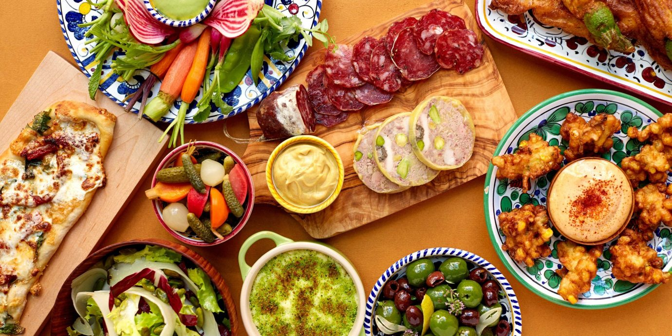 Food + Drink food table dish meal hors d oeuvre lunch cuisine wooden breakfast different produce asian food several