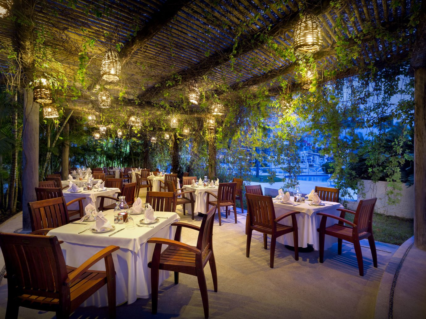 All-Inclusive Resorts Hotels table chair tree restaurant Resort function hall Dining plant interior design estate area several
