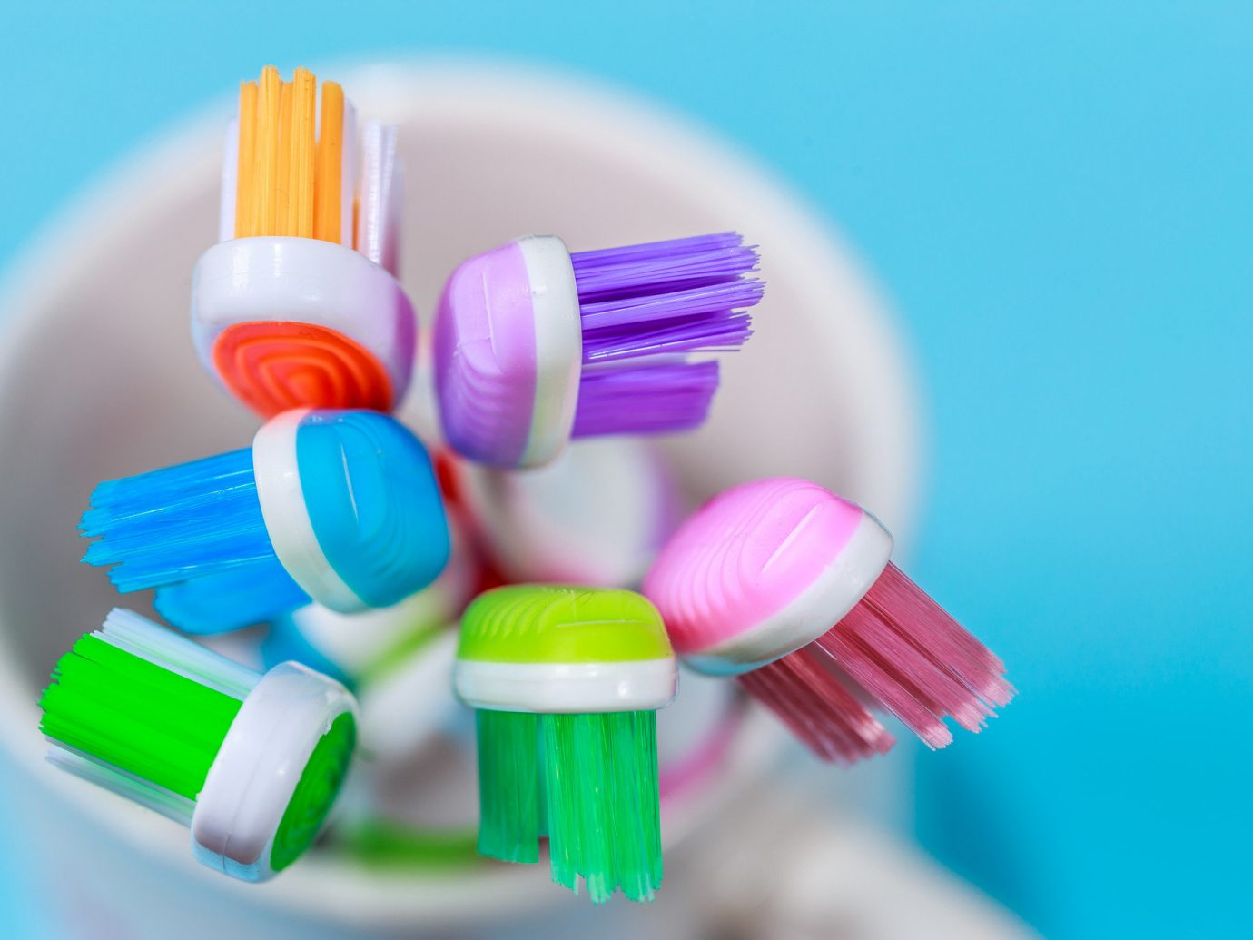 Bright colored toothbrushes