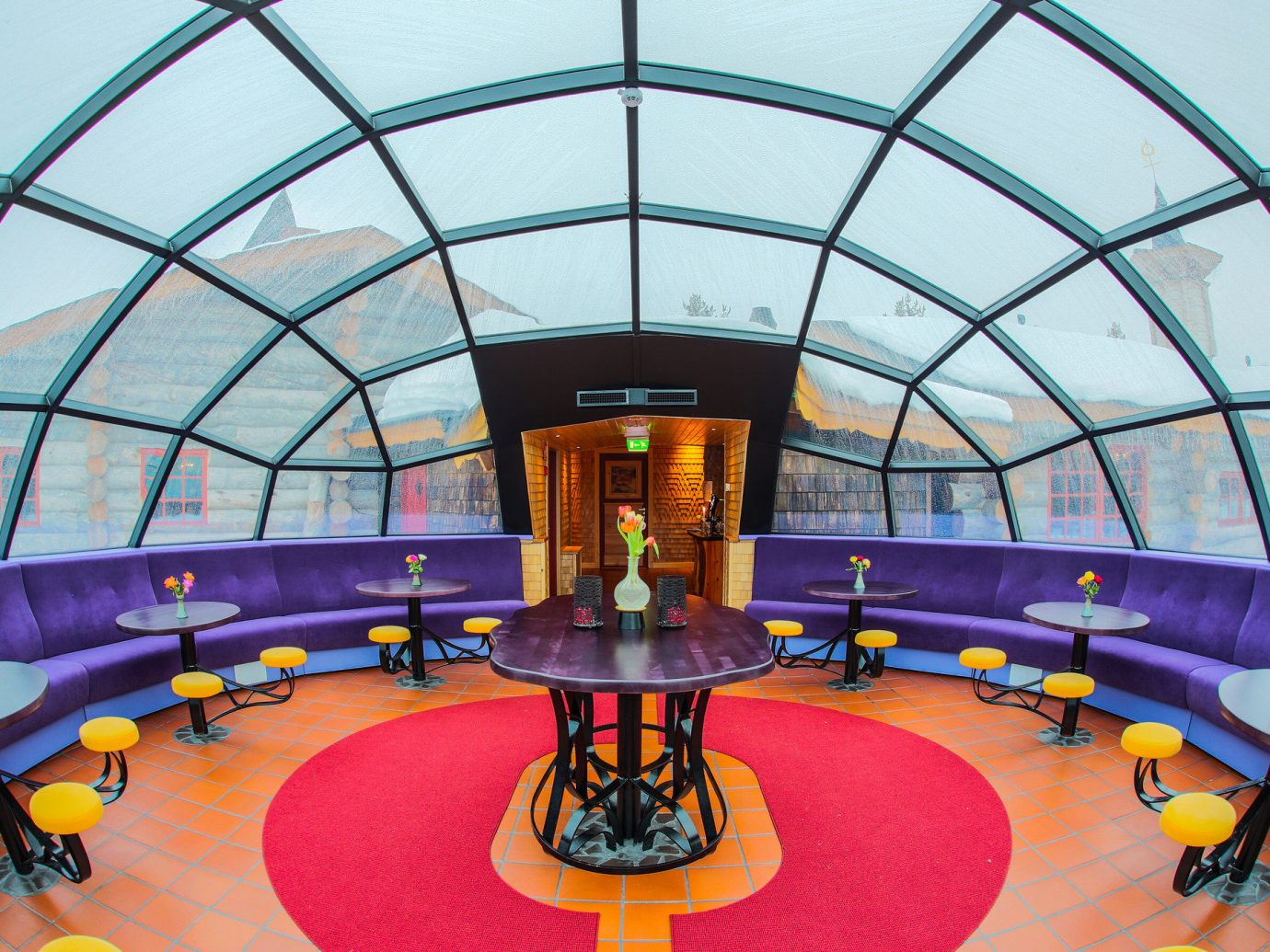 Hotels Offbeat Winter indoor building Architecture yellow structure leisure interior design leisure centre daylighting window
