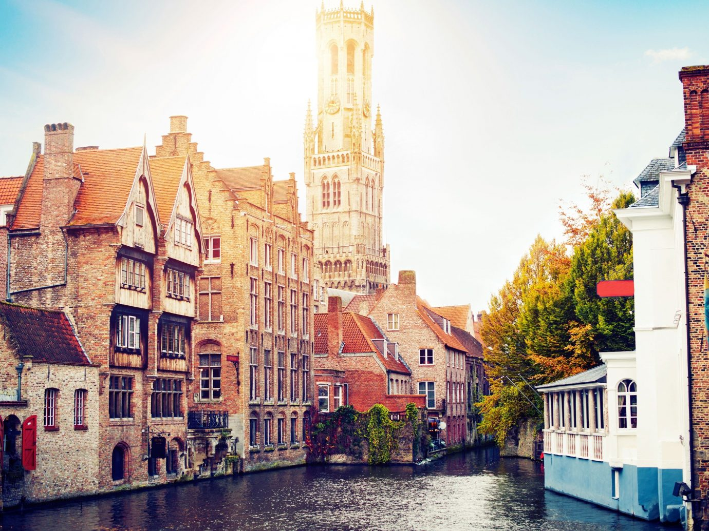 View of Bruges from a canal.