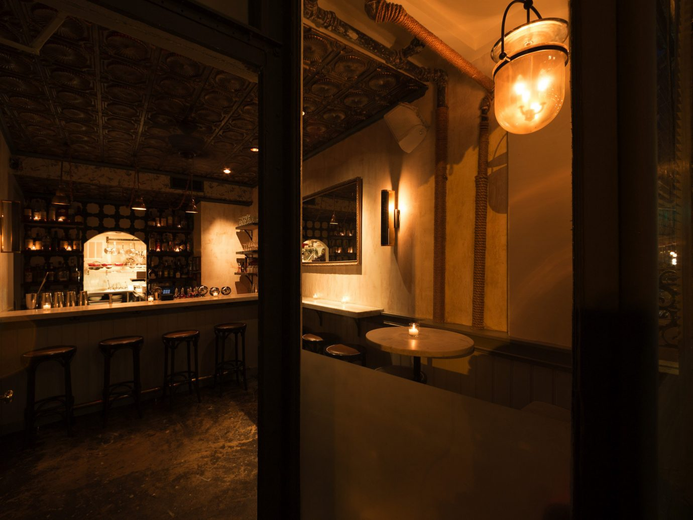 Food + Drink Romance indoor room lighting estate interior design restaurant home Bar Design night lit light