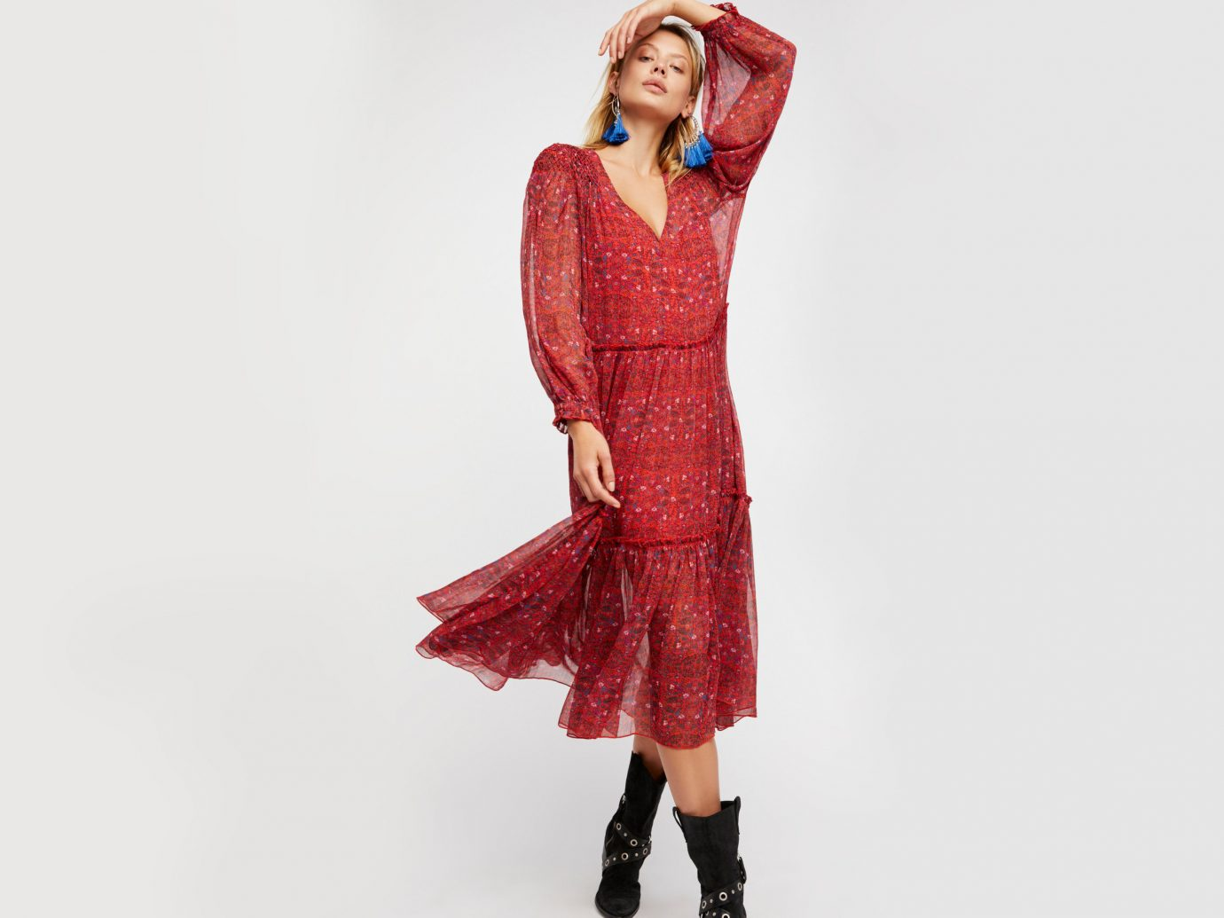 Style + Design clothing fashion model woman dress day dress wearing outerwear fashion neck sleeve lady fashion design dressed