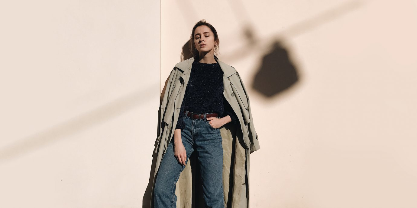 Travel Shop person standing fashion model suit fashion outerwear denim coat jeans