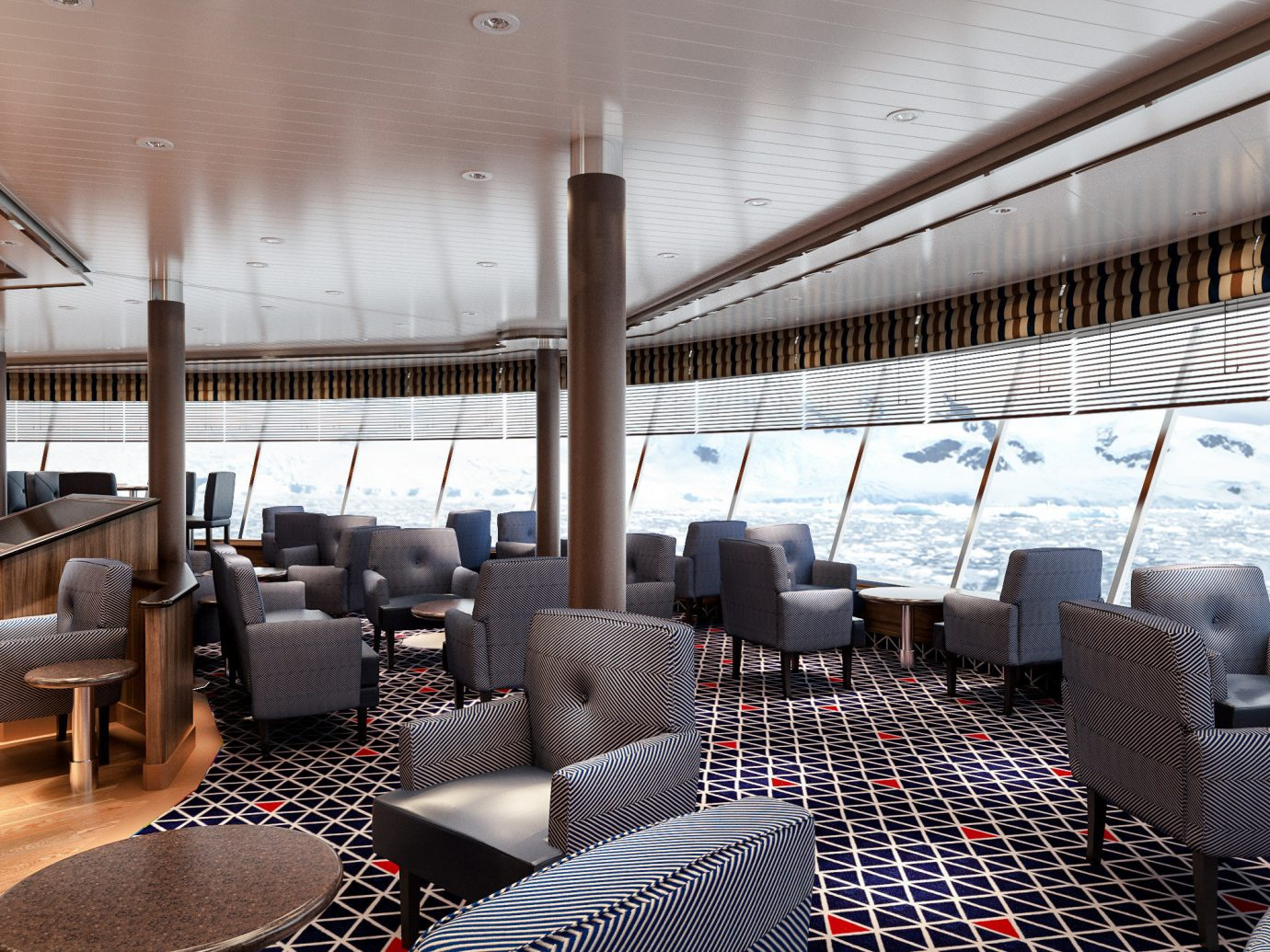 Cruise Travel Luxury Travel Trip Ideas indoor room restaurant interior design table Deck furniture several