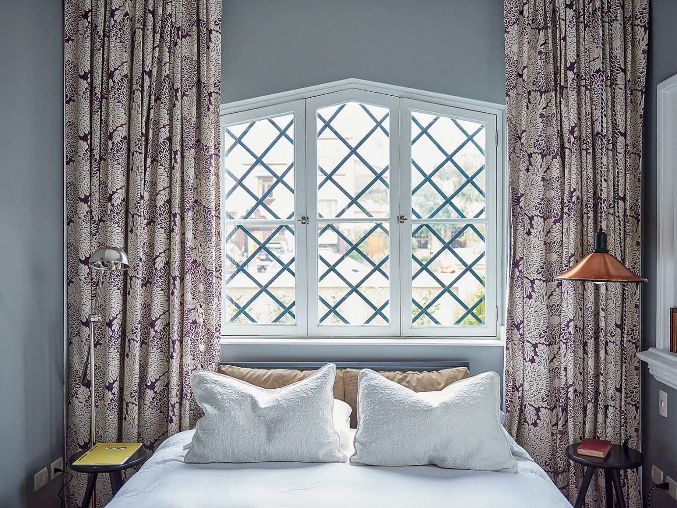 Boutique Hotels Hotels indoor wall bed room window curtain interior design Living pillow Bedroom home ceiling window treatment window covering textile decorated daylighting decor furniture