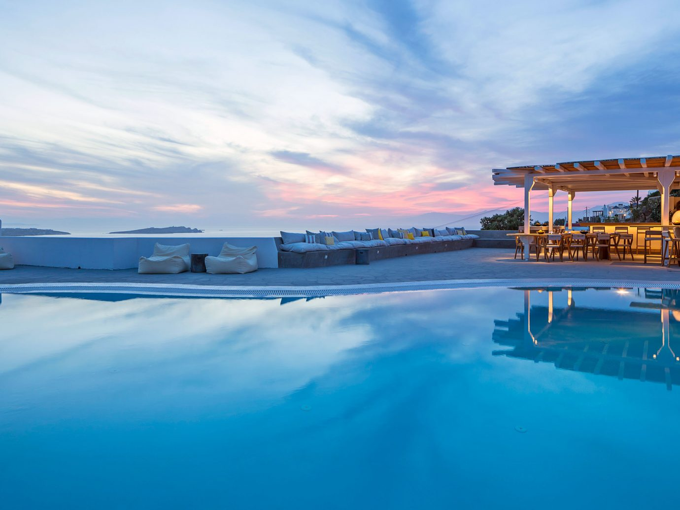 Hotels sky outdoor water Sea swimming pool Ocean scene reflection horizon vacation shore Coast bay dusk Beach blue day