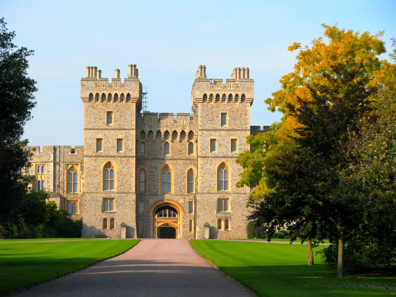 Road Trips Trip Ideas tree sky outdoor building stately home landmark estate castle green château medieval architecture national trust for places of historic interest or natural beauty mansion historic site grass palace manor house university facade arch old lawn plant campus