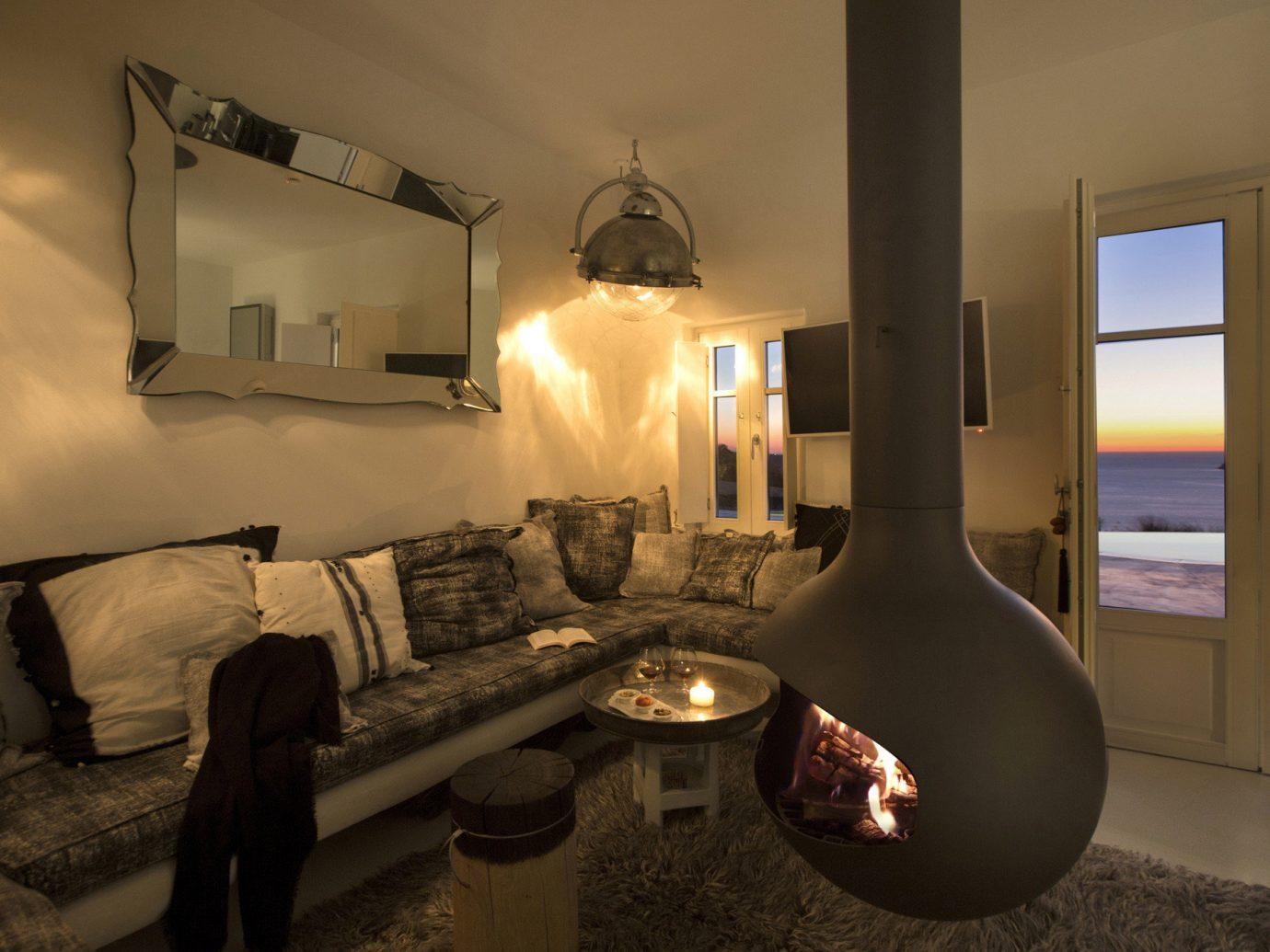 Greece Hotels Santorini wall indoor room interior design living room home lighting window house Suite ceiling furniture light fixture interior designer