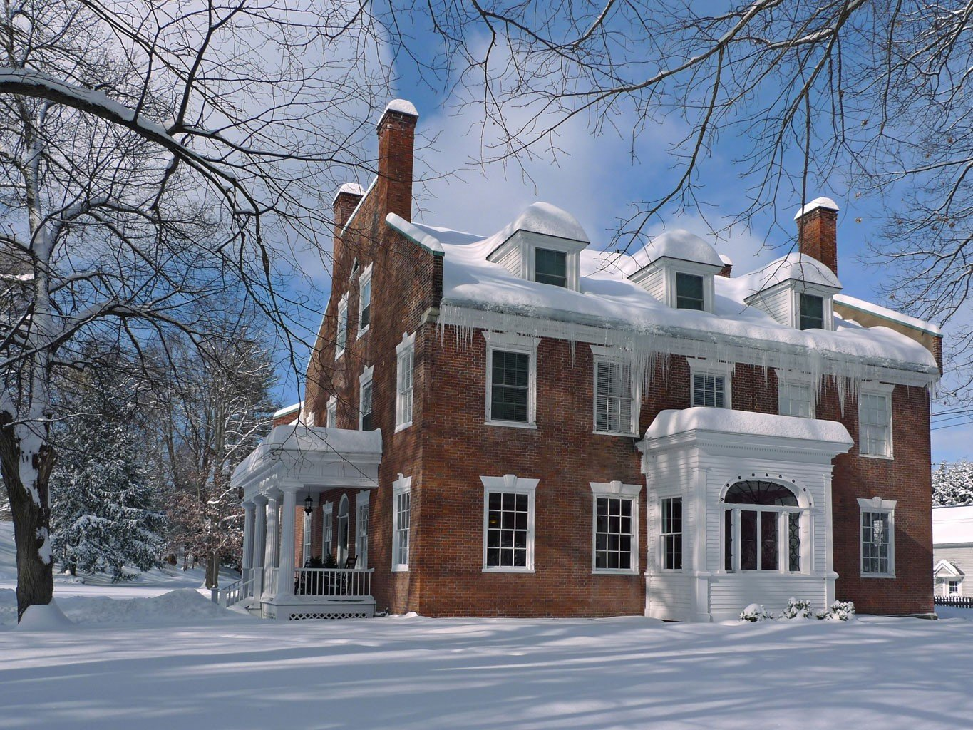 Trip Ideas tree outdoor snow building Winter house home weather neighbourhood season Architecture residential area estate roof facade outdoor structure mansion tall