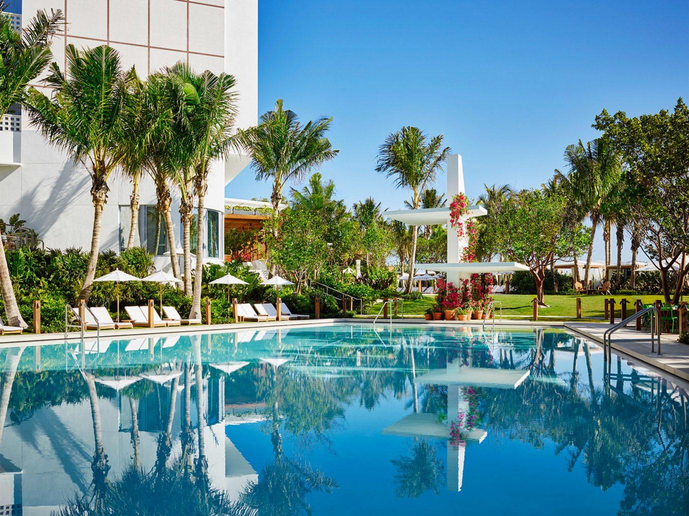City Exterior Hotels Luxury Miami Miami Beach Modern Pool Trip Ideas tree outdoor swimming pool leisure property Resort estate vacation condominium reflecting pool resort town home real estate Villa backyard area Garden