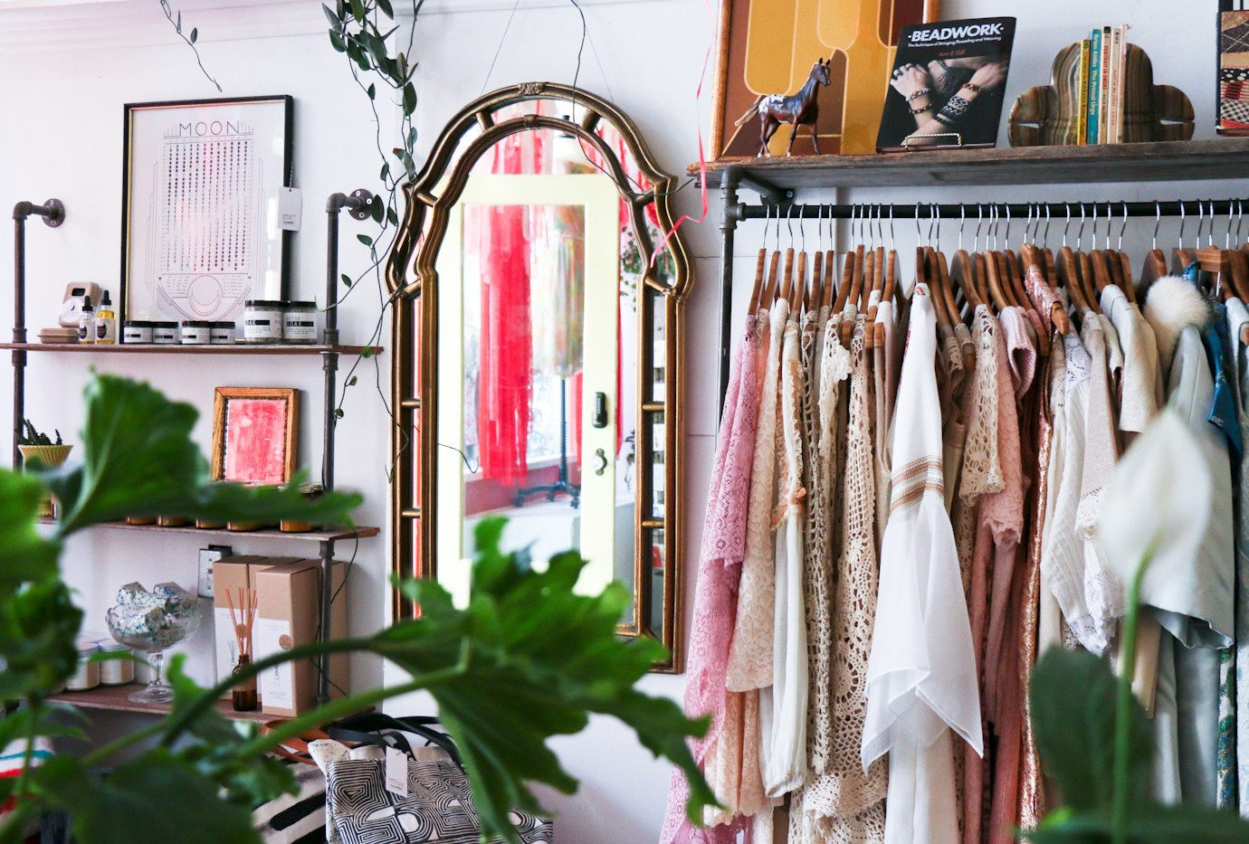 apparel artistic artsy Boutique clothes clothing Hip hipster interior mirror Offbeat Shop shopping store Style + Design trendy indoor room retail floristry home interior design furniture different decorated arranged several