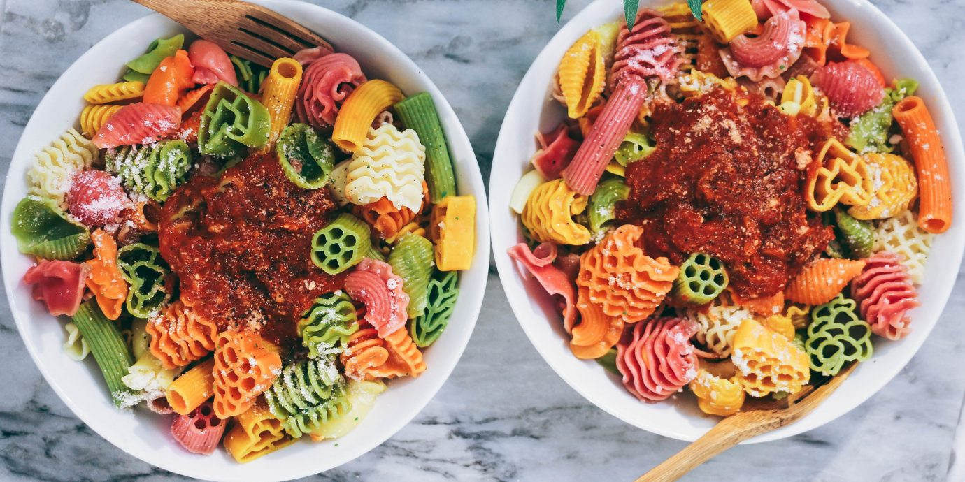 Food + Drink food table plate dish meal cuisine produce spaghetti salad meat lunch asian food vegetable plastic