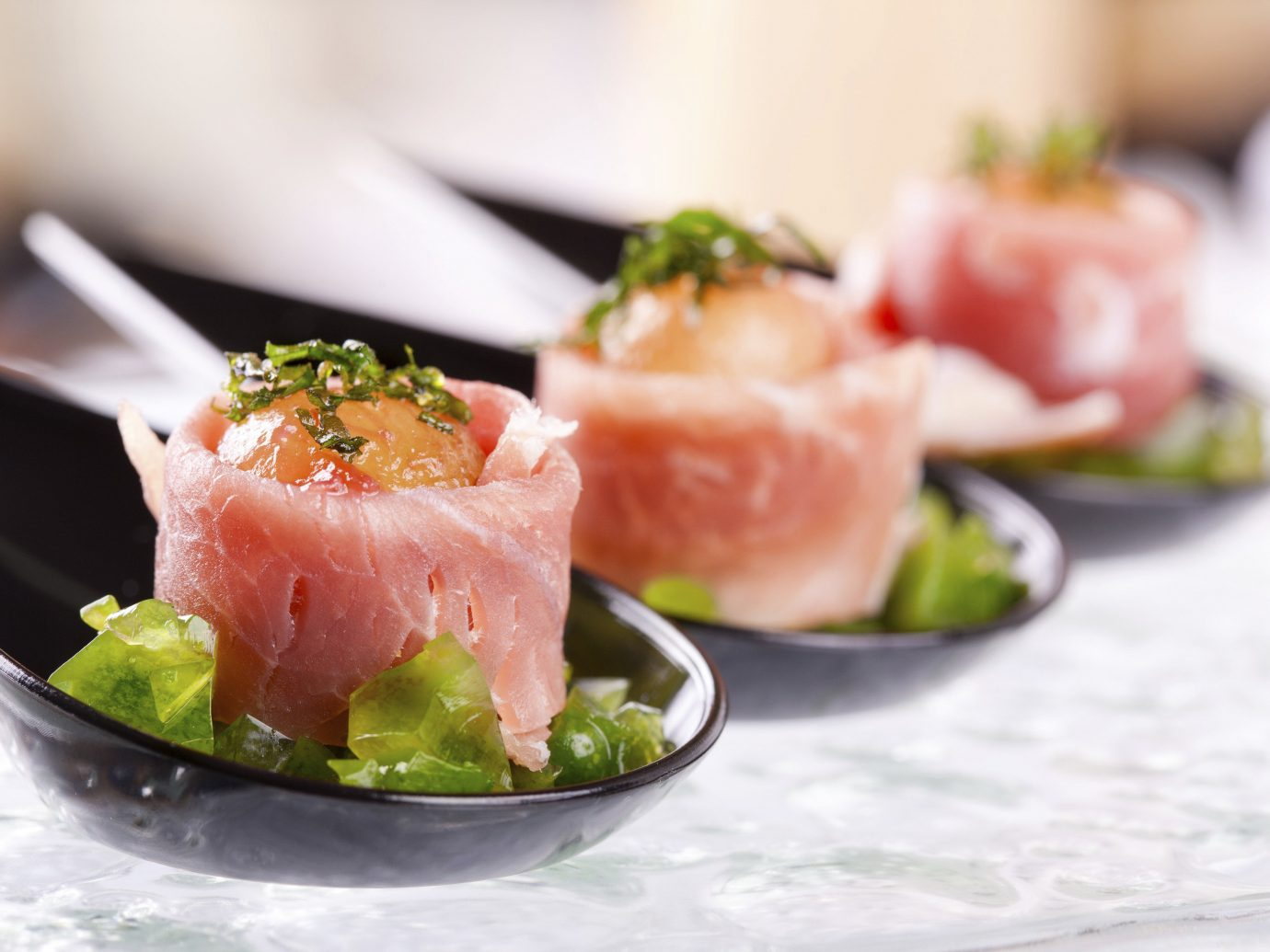 Food + Drink food dish plate cuisine smoked salmon hors d oeuvre asian food sushi fish produce sashimi meal ceviche