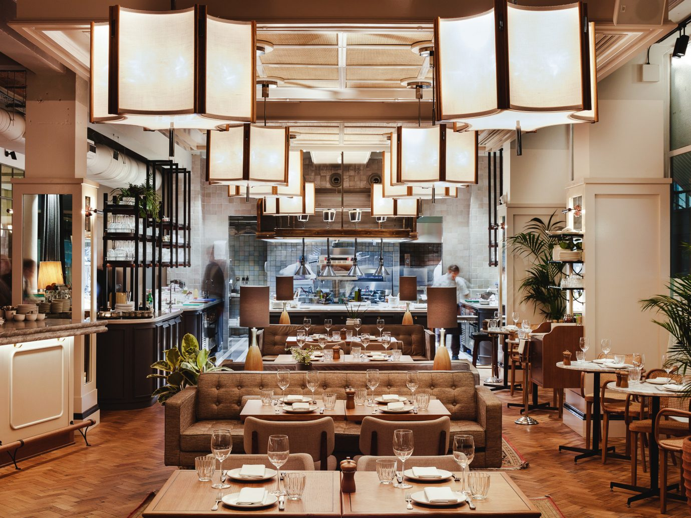 Food + Drink London indoor table floor window interior design restaurant wooden Dining wood furniture Island