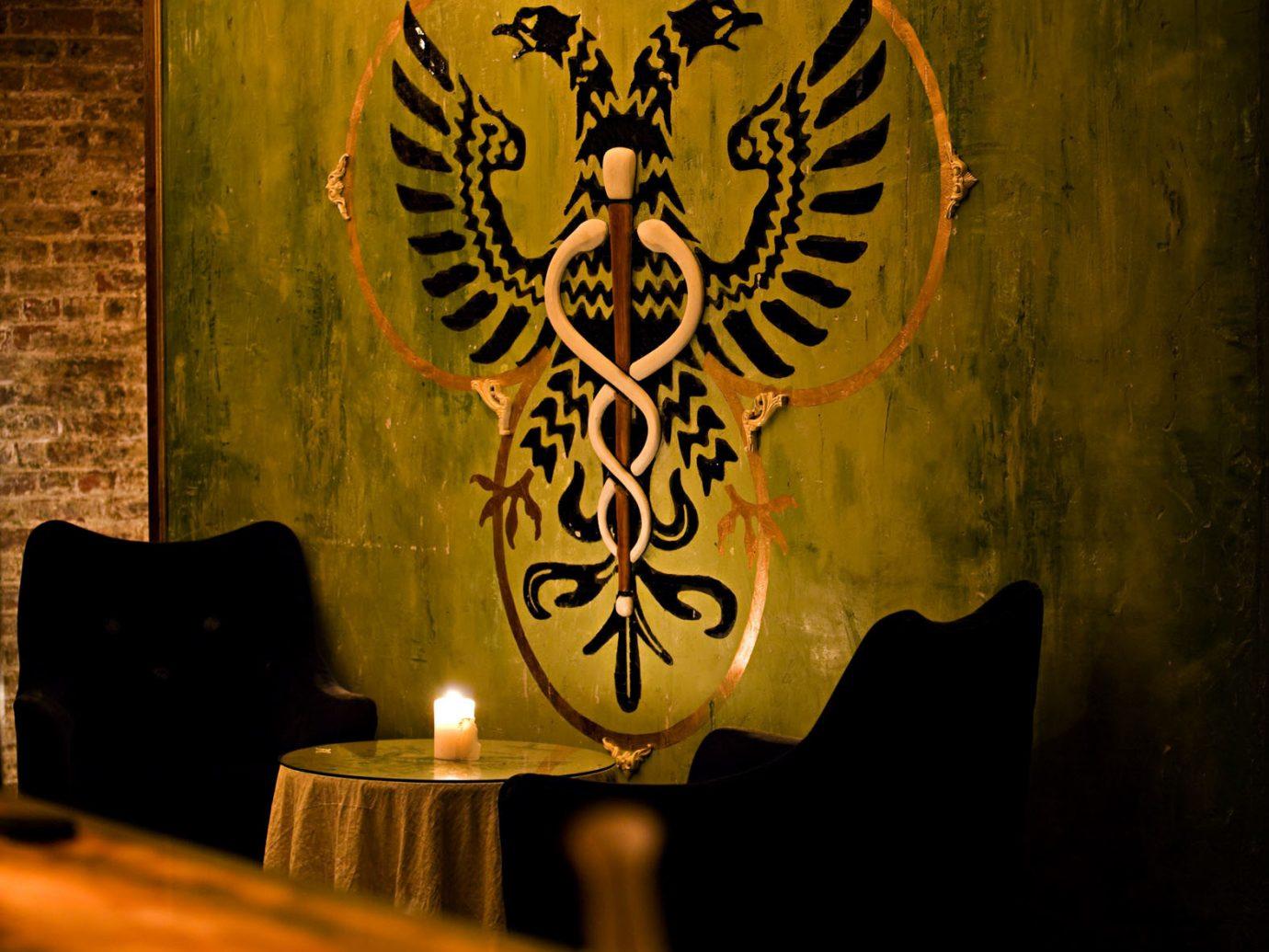 Food + Drink Romance wall indoor yellow art darkness painting modern art illustration carving dark