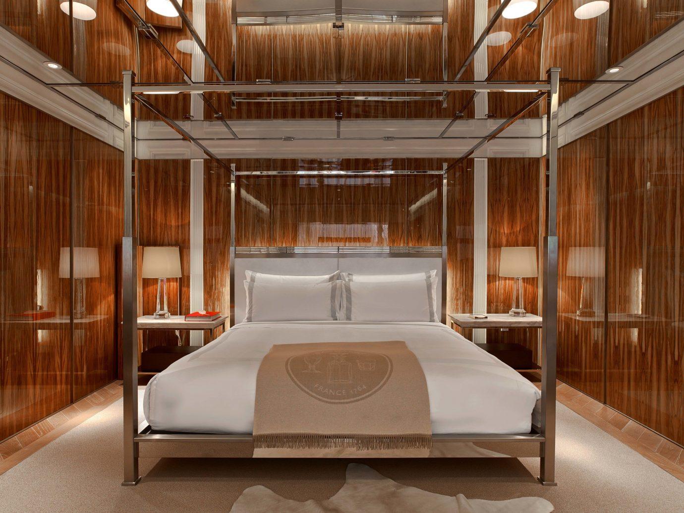 Hotels Luxury Travel indoor floor ceiling room interior design Architecture bed frame wood furniture bed interior designer flooring Bedroom