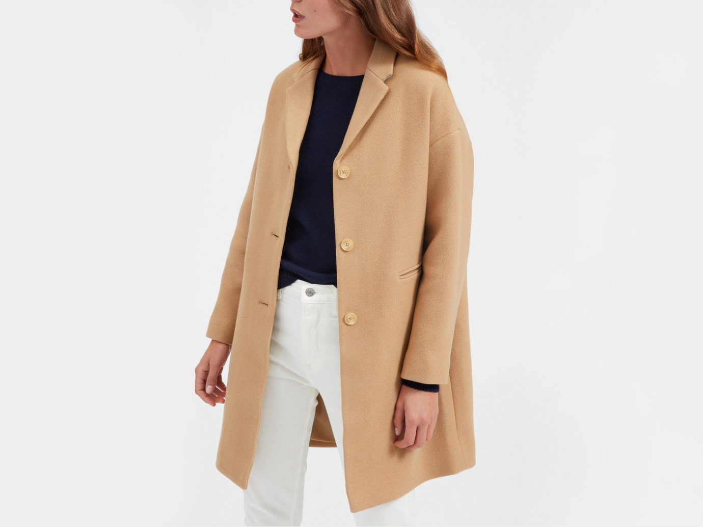 Style + Design Travel Shop clothing person coat suit fashion model outerwear beige overcoat neck blazer posing dressed