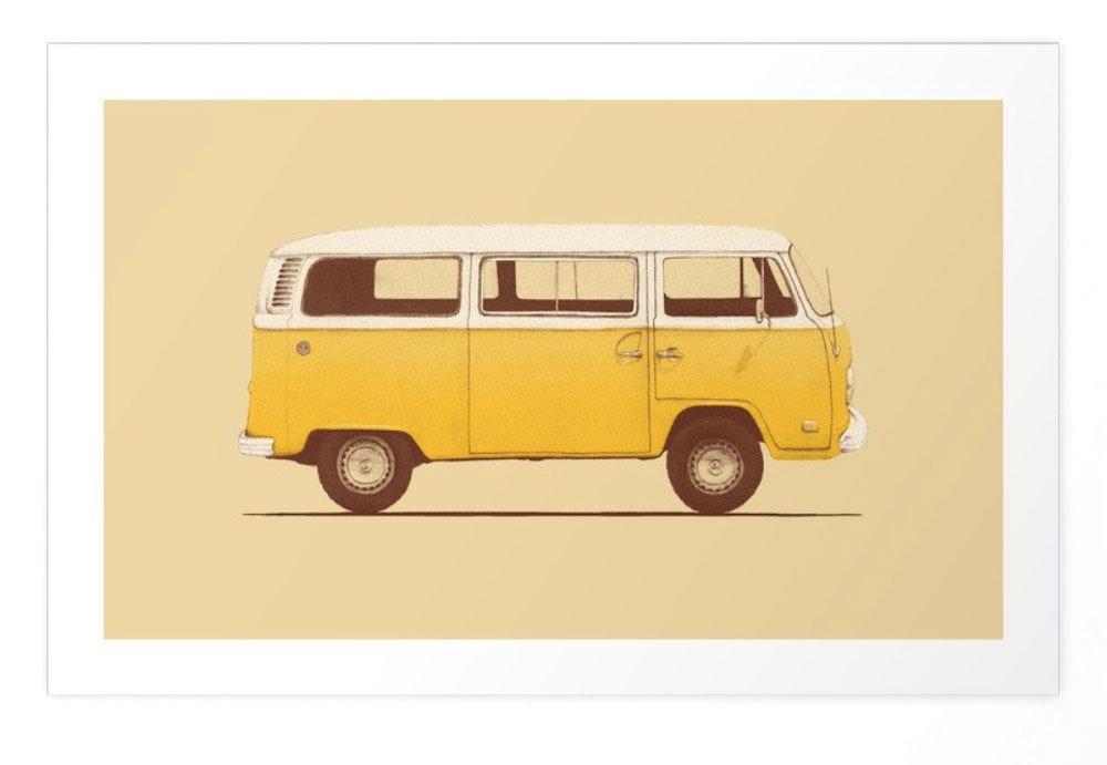 Style + Design yellow car vehicle land vehicle van transport volkswagen type 2 automobile make model car brand compact car volkswagen minibus illustration bus