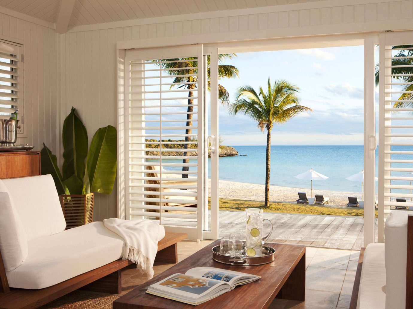 Living room and ocean view of The Cove Eleuthera