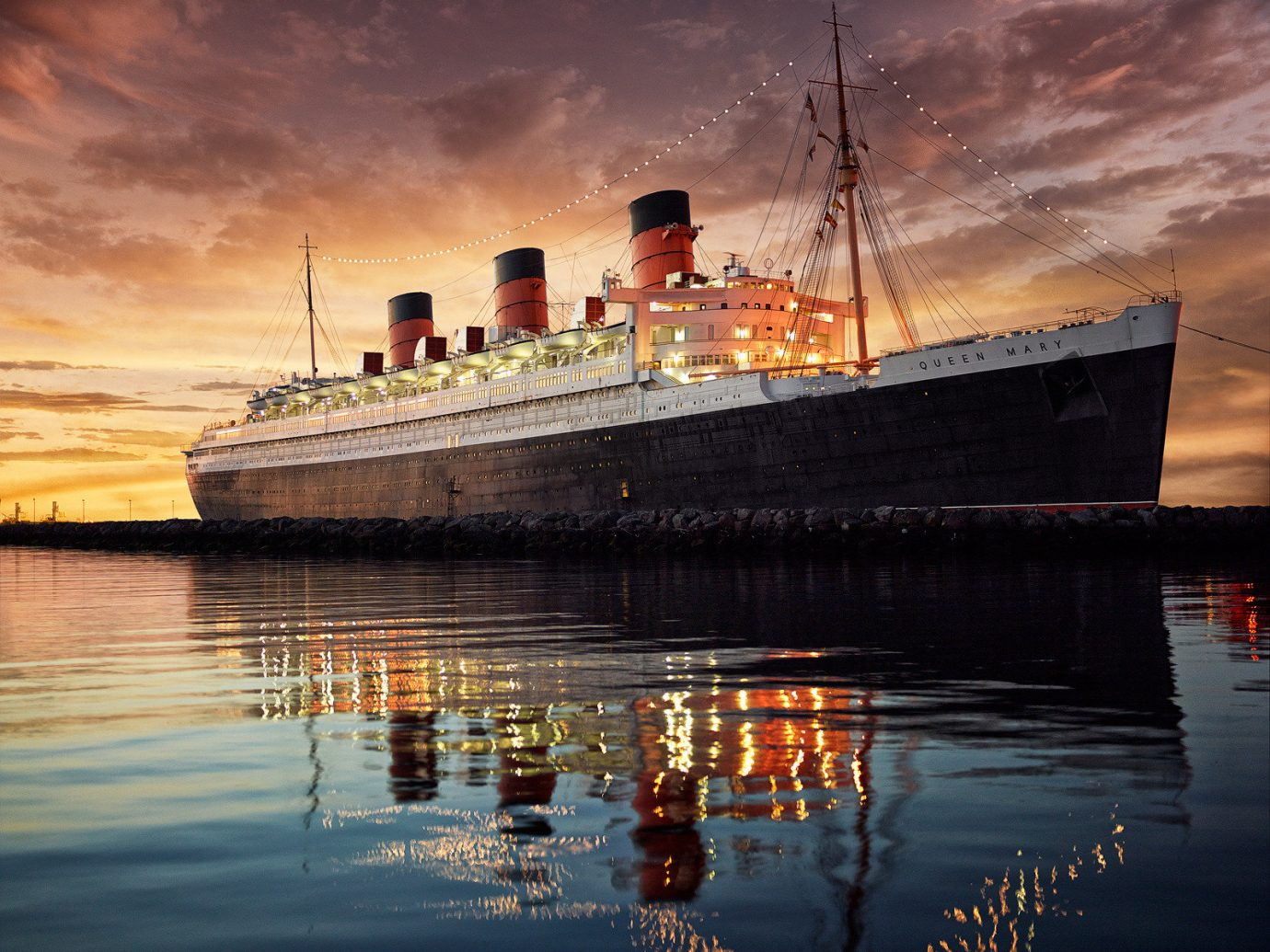 View of The Queen Mary, Long Beach, CA