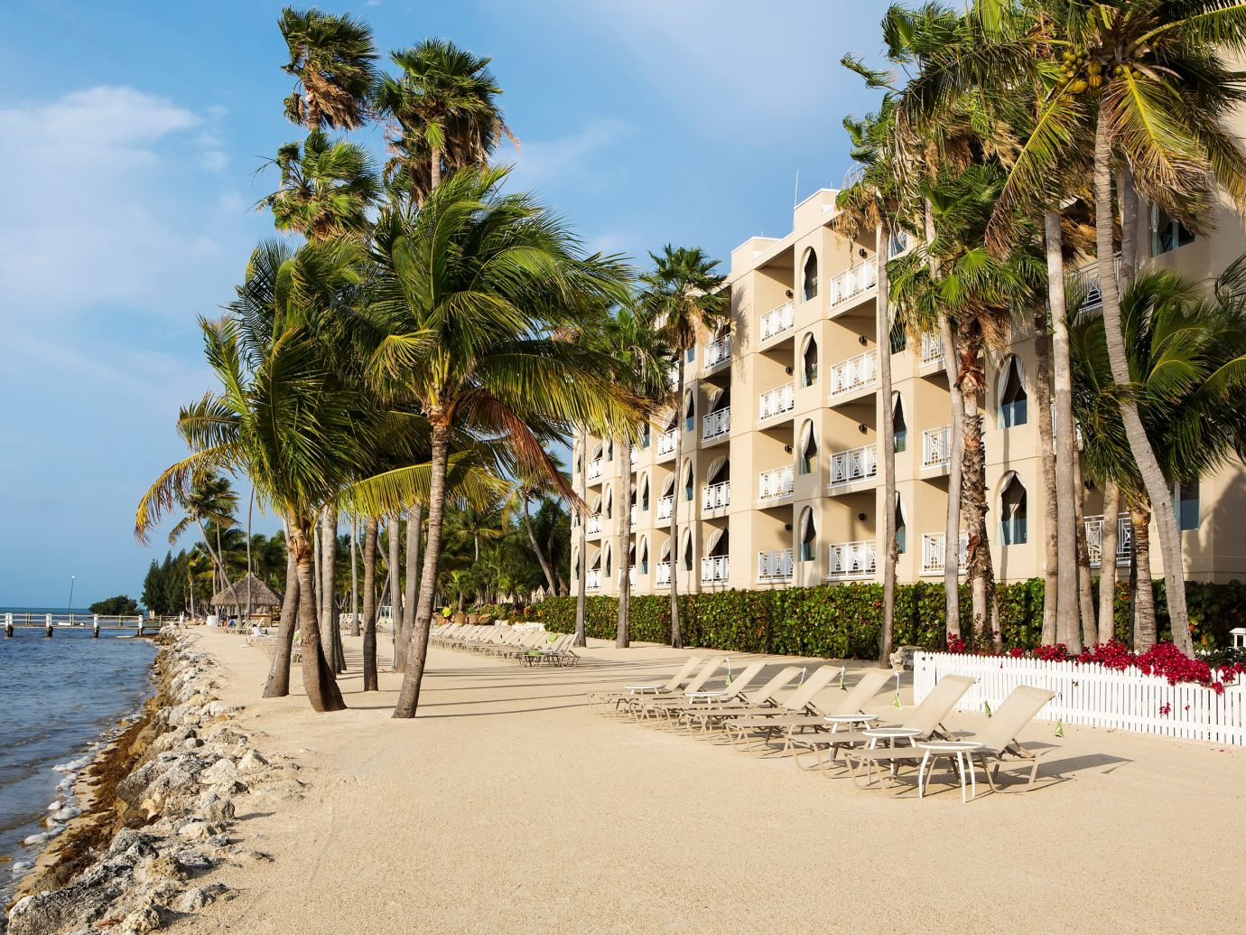 Hotels Romance outdoor tree sky Beach palm vacation walkway Resort arecales tourism plant Coast lined Sea palm family boardwalk sandy travel shore shade several day