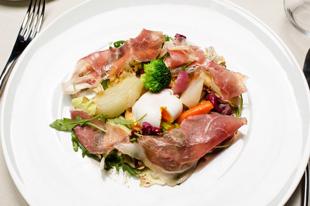 Food + Drink Hotels Italy Luxury Travel plate Trip Ideas food table white dish cuisine meat salad prosciutto vegetable recipe appetizer lamb and mutton carpaccio meal arranged piece de resistance