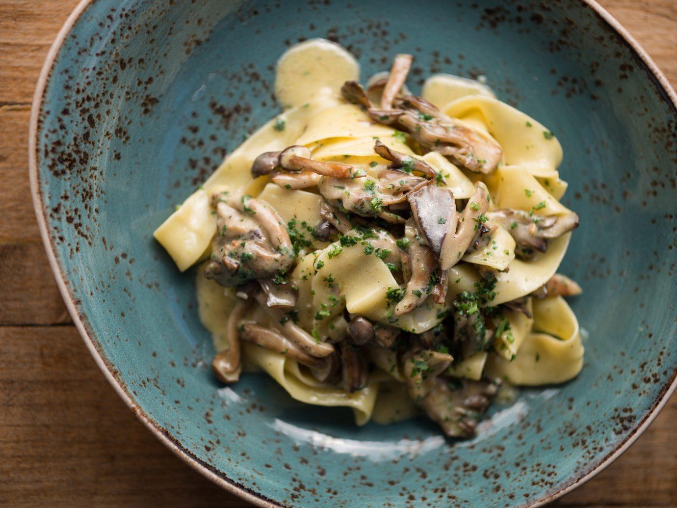 Food + Drink plate food table dish wooden cuisine italian food produce vegetable pappardelle penne carbonara vegetarian food pasta european food meal meat eaten