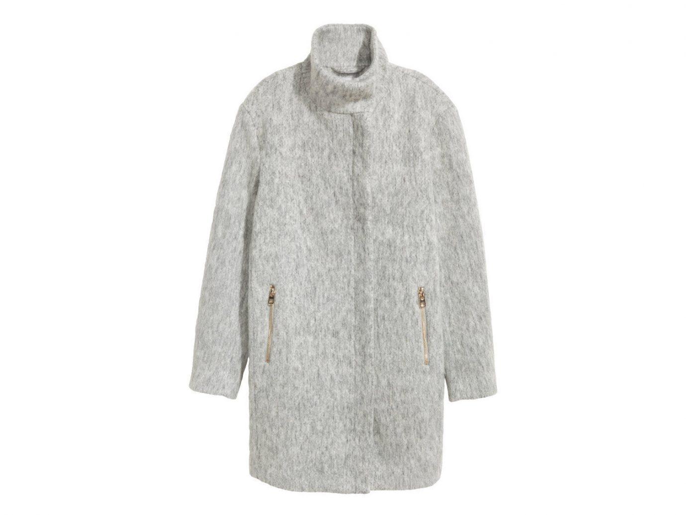 Travel Shop clothing coat woolen sleeve fur overcoat beige neck