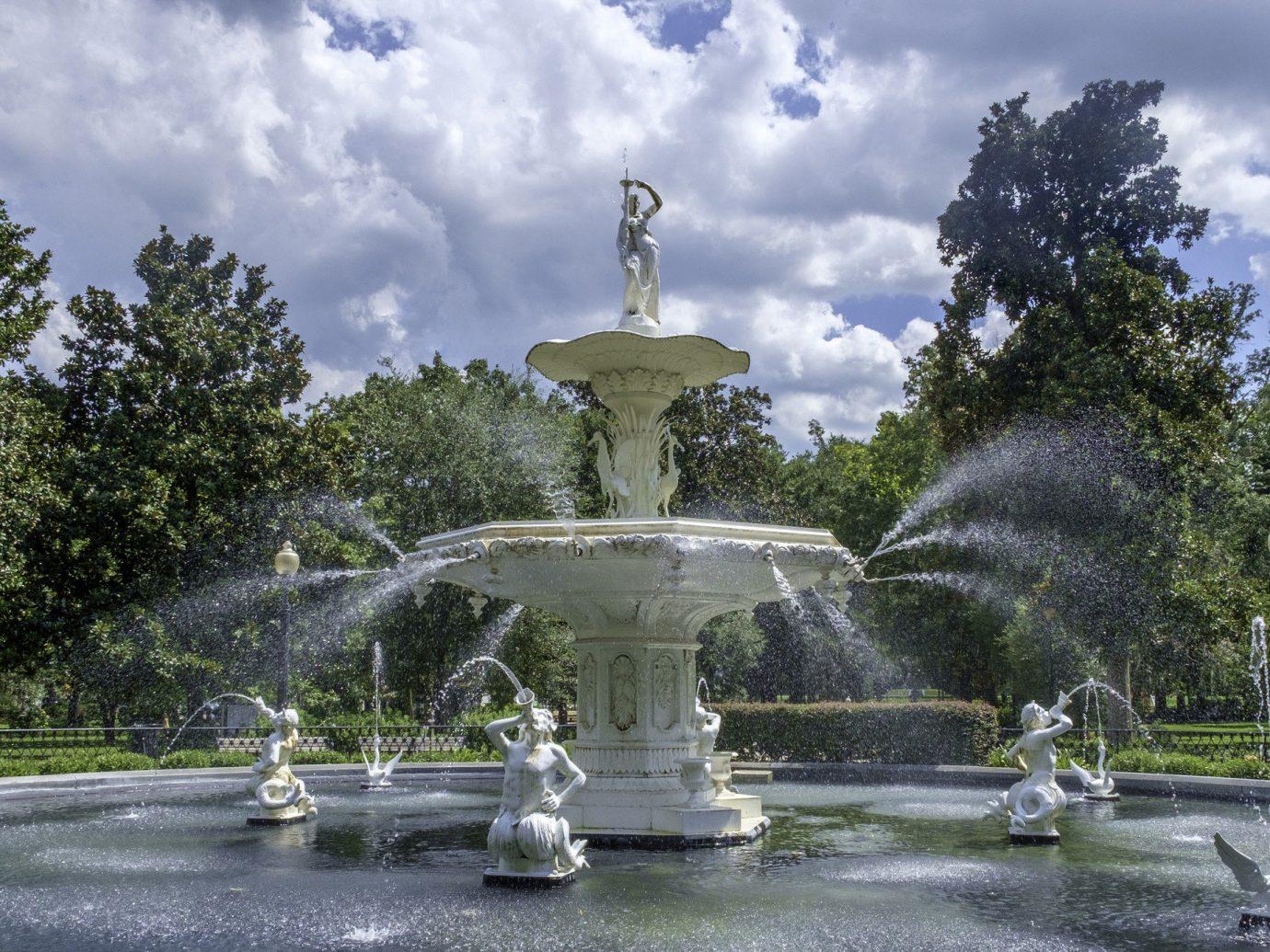Romance Trip Ideas tree sky outdoor fountain landmark water feature water town square plaza monument Garden lighting memorial park