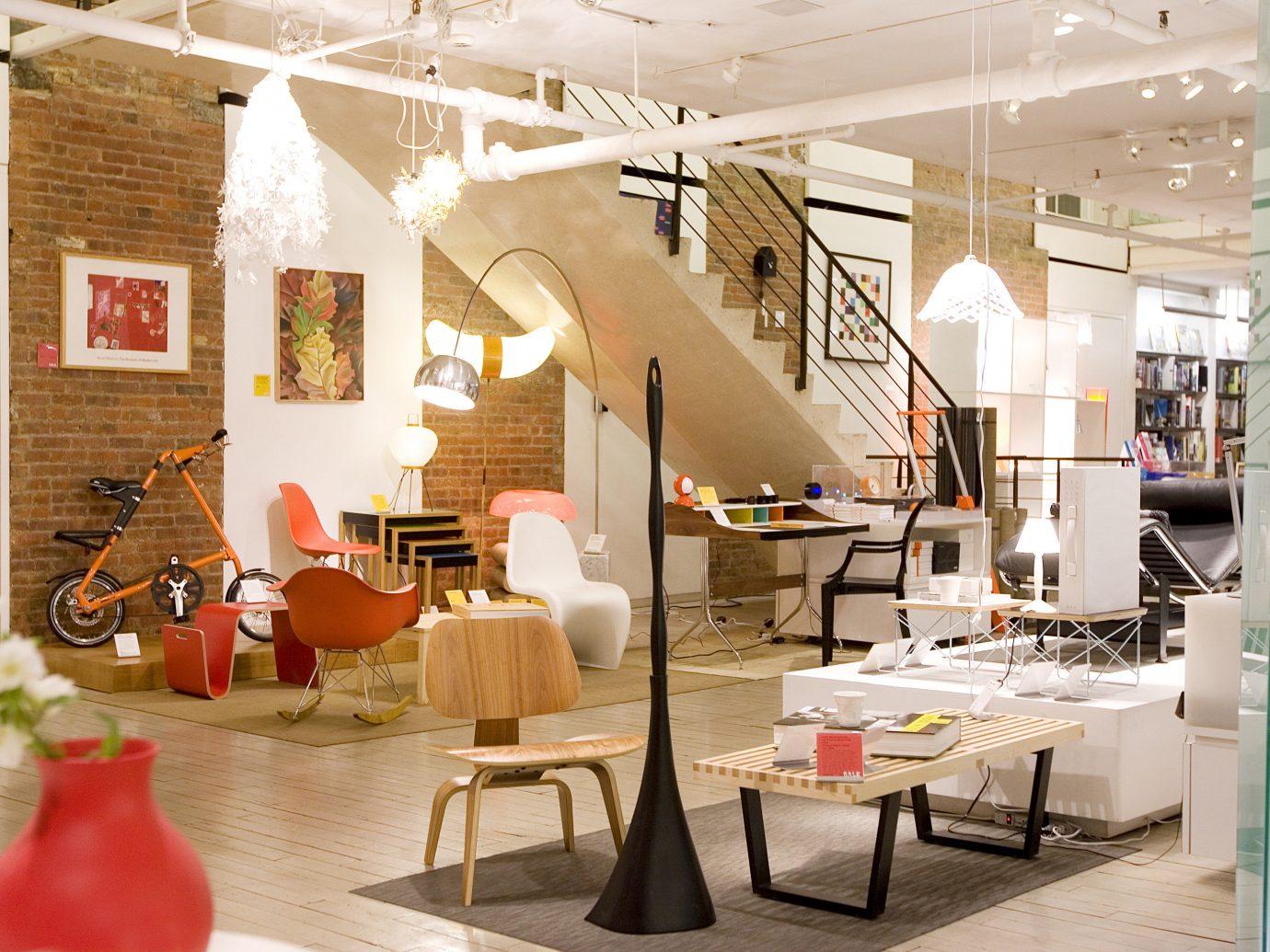 NYC Shops Style + Design indoor floor room Living interior design furniture loft living room table interior designer café ceiling area