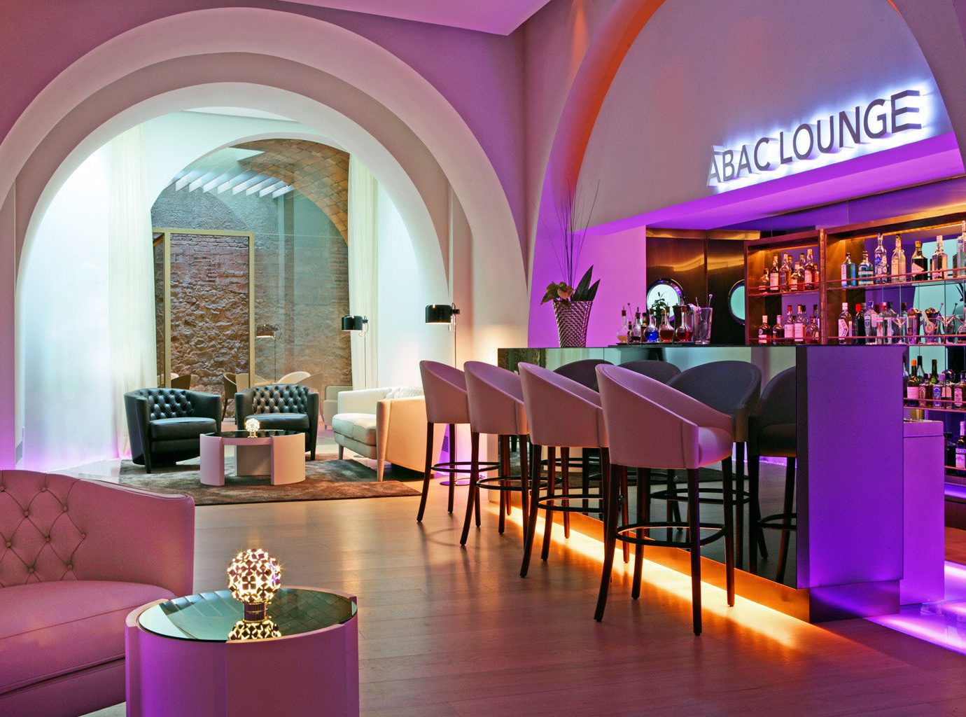 Bar Boutique Hotels Dining Drink Eat Hotels Lounge Modern indoor floor color room Lobby interior design restaurant pink function hall Resort estate purple decorated furniture