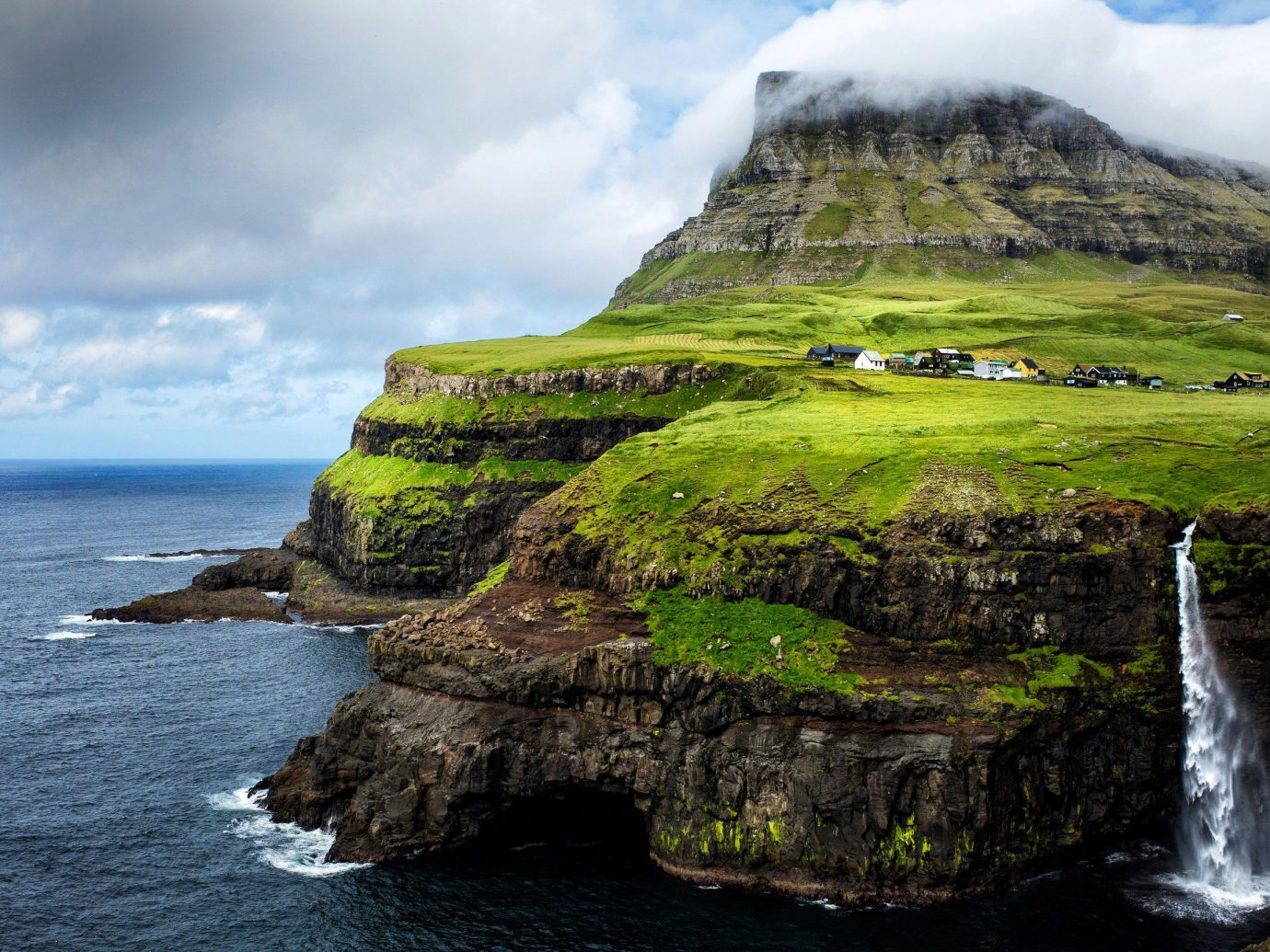 Trip Ideas Nature sky outdoor water mountain grass rock Coast geographical feature landform body of water Sea cliff Waterfall Ocean terrain islet landscape cape Island bay cove fjord hillside