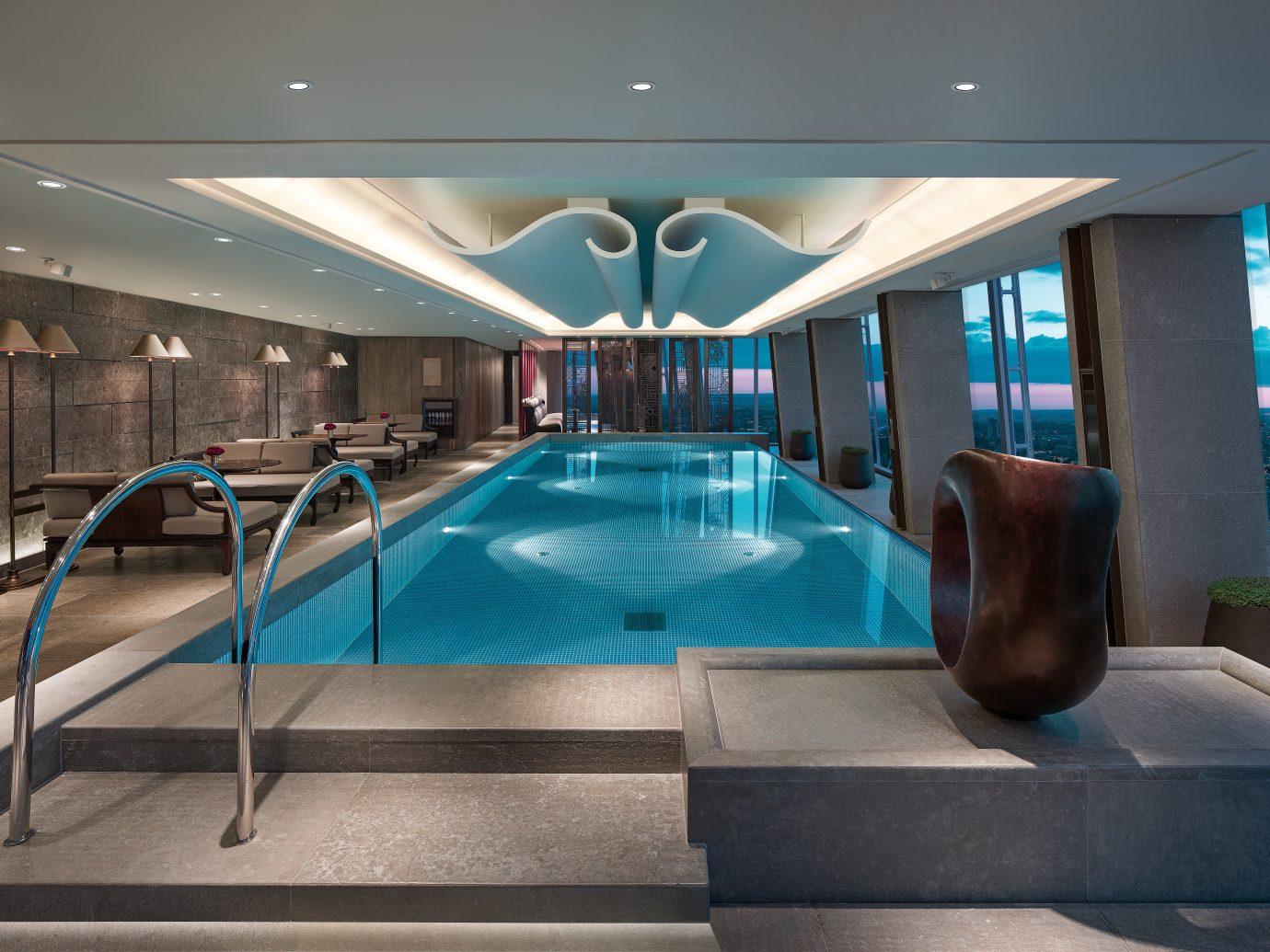 Boutique Hotels Hotels Living London Lounge Modern Pool Romantic Hotels floor indoor swimming pool room ceiling Lobby estate interior design blue Resort