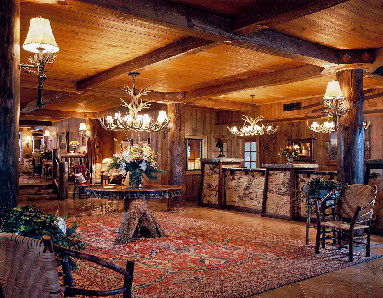Living Lodge Lounge Luxury Romantic Rustic Trip Ideas ceiling indoor room estate home Lobby log cabin wood interior design restaurant furniture living room area dining room several
