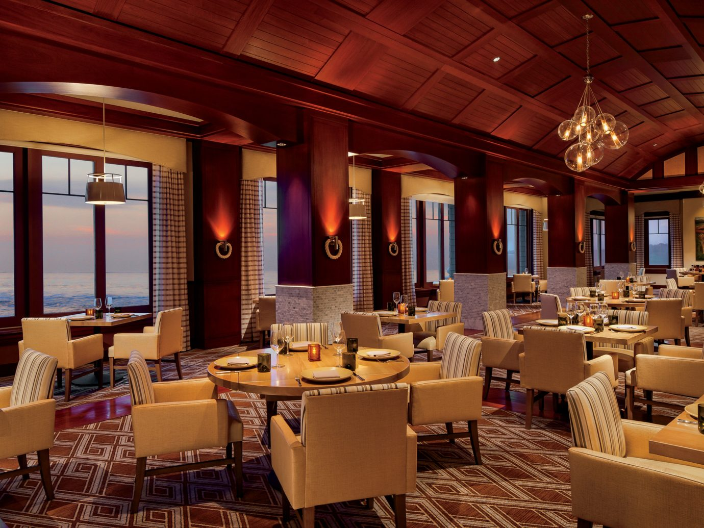 Bar Dining Drink Eat Hotels Scenic views table indoor ceiling chair window room restaurant Lobby function hall estate interior design café meal convention center furniture several