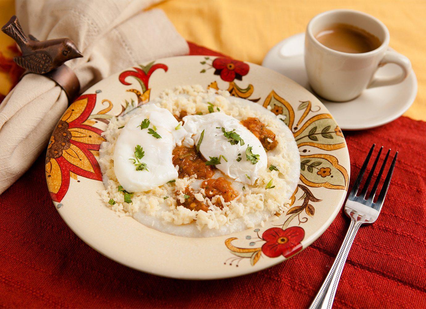 Boutique Hotels Food + Drink Girls Getaways Weekend Getaways plate table food cup coffee dish cuisine meal breakfast recipe tableware vegetarian food
