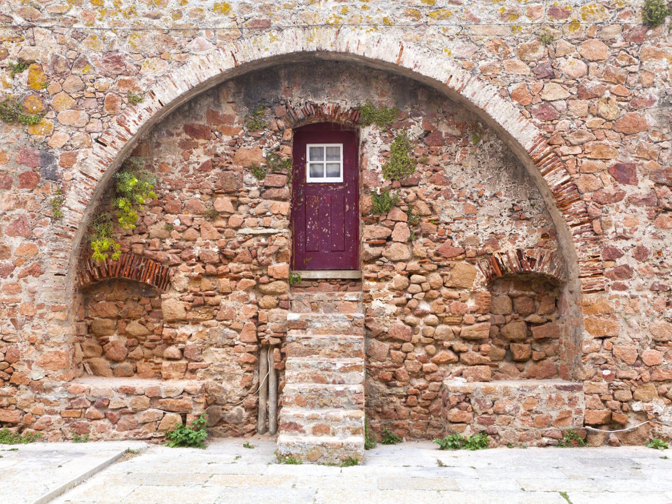 Offbeat brick building ground stone outdoor wall arch brickwork Ruins monastery rock chapel ancient history estate cottage stone wall Village material building material walkway