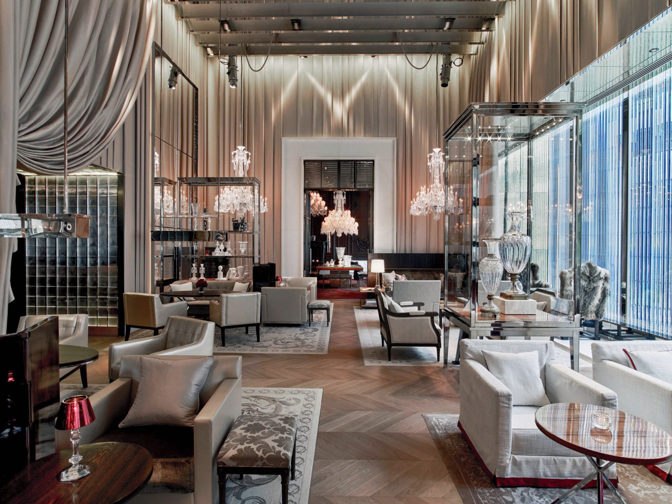 Baccarat Hotel & Residences, Best Hotels in NYC, restaurant meal interior design Hotels NYC indoor room Living floor Lobby property window furniture living room interior design curtain Boutique estate Design home restaurant condominium window covering decorated
