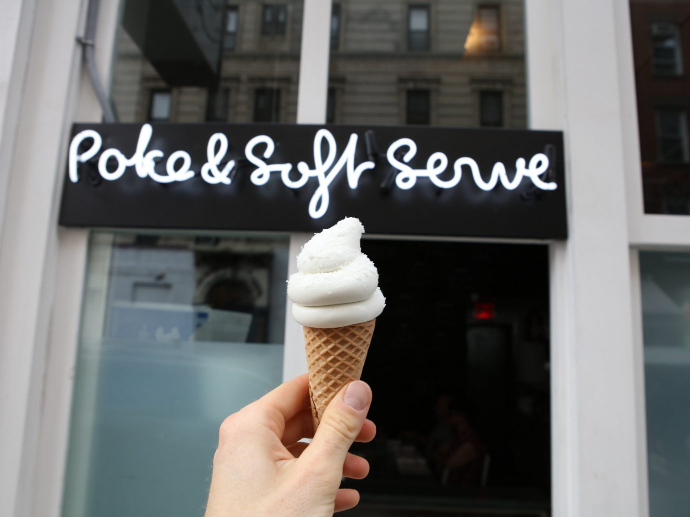 Food + Drink building outdoor person white food dessert sense hand interior design window