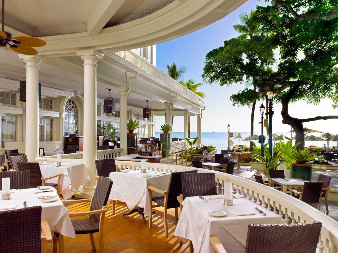 Boutique Hotels Dining Drink Eat Hawaii Honolulu Hotels Resort Scenic views table chair restaurant meal estate function hall palace Villa set furniture