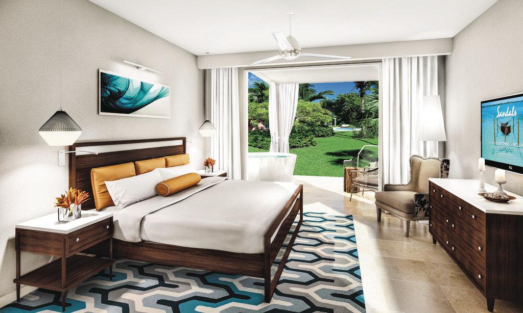 Bedroom at Sandals Royal Bahamian