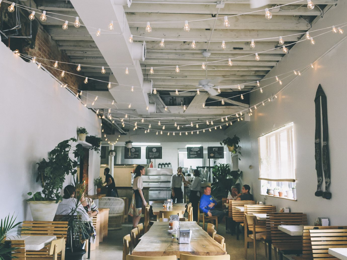 Food + Drink indoor floor room chair interior design ceiling Living restaurant daylighting table furniture