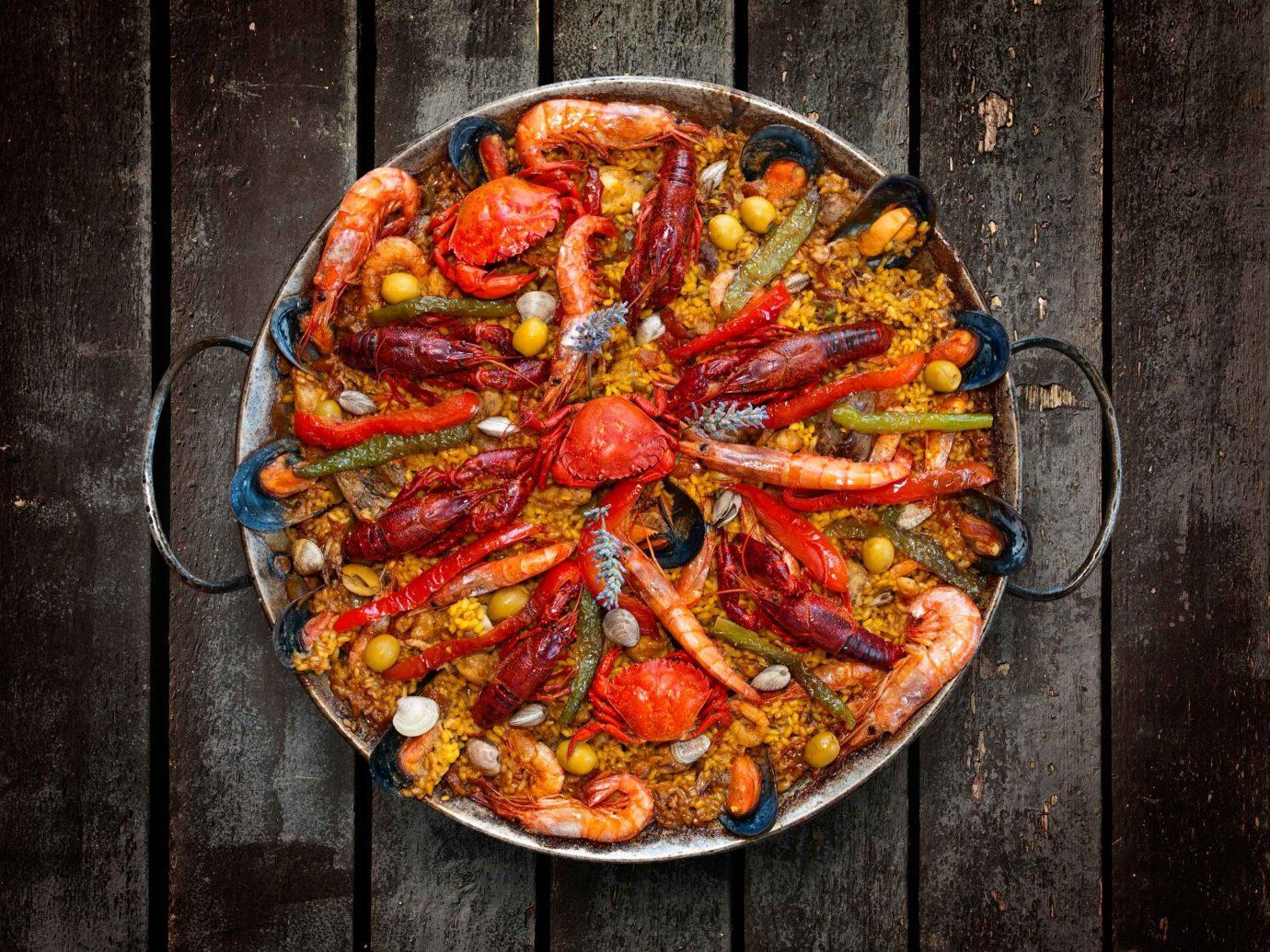 Food + Drink pizza dish food cuisine italian food european food produce meat vegetable paella sliced pan fresh cooked