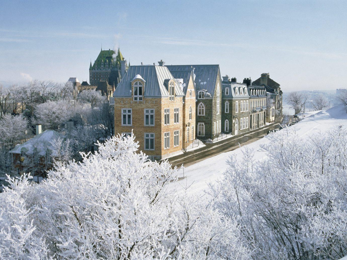 Boutique Hotels Romance Trip Ideas sky outdoor snow Winter frost freezing building tree ice home estate château house tours castle day